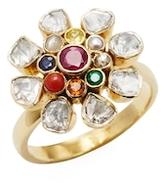 Amrapali 18K Yellow Gold, Navratna & 0.06 Total Ct. Diamond Flower Ring