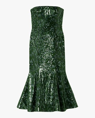 Semsem Strapless Sequin Midi Dress