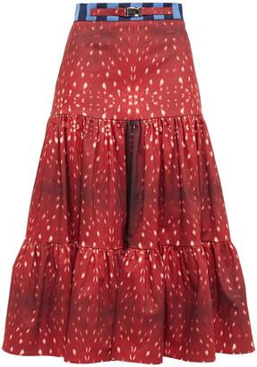 Stella Jean Tiered Printed Cotton-blend Midi Skirt