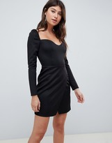 Asos Design DESIGN long sleeve sweetheart wrap mini dress