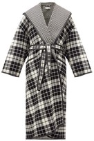 Balenciaga Check And Houndstooth Double-face Wool-blend Coat - Womens - Black White