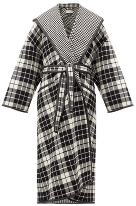 Balenciaga Check And Houndstooth Double-face Wool-blend Coat - Black White