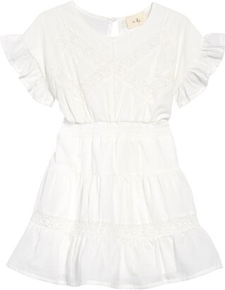 En Elly Kids' Lace Trim Cotton A-Line Dress