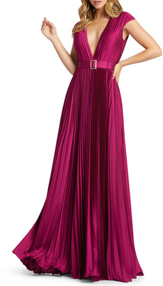Mac Duggal 6-Week Shipping Lead Time Deep V-Neck Cap-Sleeve Pleated Satin Gown