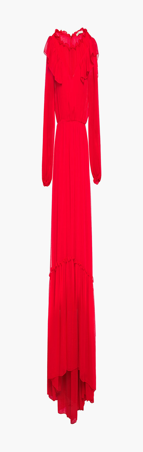 Maje Rachana Ruffled Gathered Georgette Gown