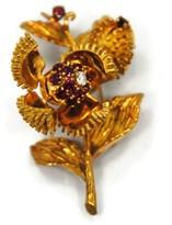 Tiffany & Co. 18K Yellow Gold Diamond & Ruby Open Flower Brooch