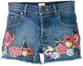 Alice + Olivia Alice+Olivia floral embroidered denim shorts