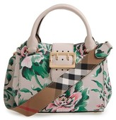 Burberry Small Buckle Floral Calfskin Leather Satchel - Green