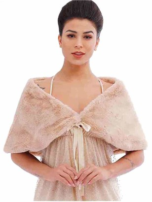 Aukmla Women's Wedding Fur Wraps and Shawls Bridal Fur Stole and Scarves with Ribbon for Bridesmaid (Camel)