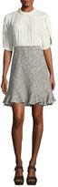 Rebecca Taylor Round-Collar Silk & Tweed Short Dress