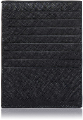 Prada Black Leather Card Case with Snap Pouch