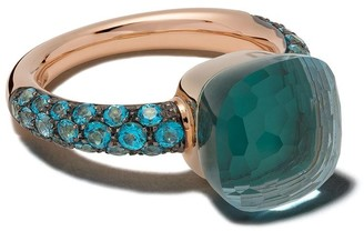 Pomellato 18kt rose and white gold Nudo topaz and agate ring