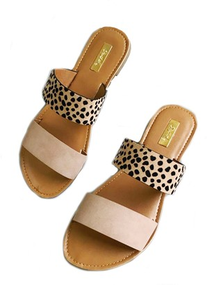 Goodnight Macaroon 'Yuki' Leopard Suede Double Strap Flat Sandals (2 Colors)