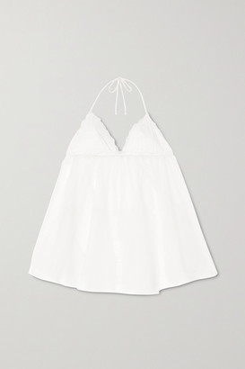 La Perla Miss Sunshine Lace-trimmed Stretch-tulle Chemise And Thong Set - White