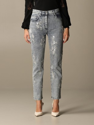 Blumarine Jeans In Used Denim With Rhinestones