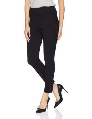 Tribal Women's Pull On Ponte Legging with Faux Leather Detail