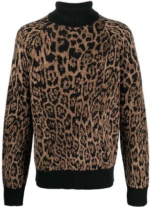 Just Cavalli Leopard-Print Roll-Neck Jumper