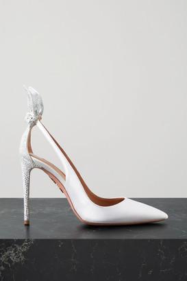 Aquazzura Bow Tie 105 Crystal-embellished Satin Pumps - White