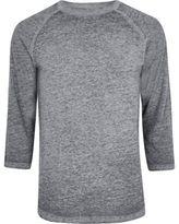 River Island Grey Burnout Raglan Sleeve Slim Fit T-shirt