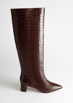 And other stories Croc Leather Knee High Boots