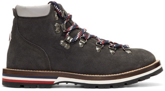 Moncler Black Glittered Suede Blanche Hiking Boots