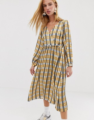 Asos check v-neck midi dress-Yellow