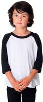 American Apparel Kids Kids' Poly-Cotton 3/ Sleeve Raglan Size White / Black