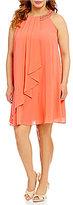 Jessica Howard Plus Sleeveless Beaded Neck Dress