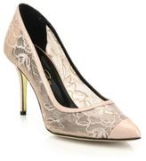 Oscar de la Renta Willow Lace Cap-Toe Pumps
