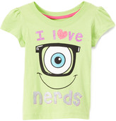 Children's Apparel Network Girls' Tee Shirts Green - Monsters Inc. 'I Love Nerds' Puff-Sleeve Tee - Toddler