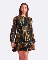Cynthia Rowley Metallic Bell Sleeve Dress