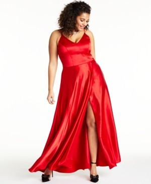 Sequin Hearts Trendy Plus Size Slit Satin Gown