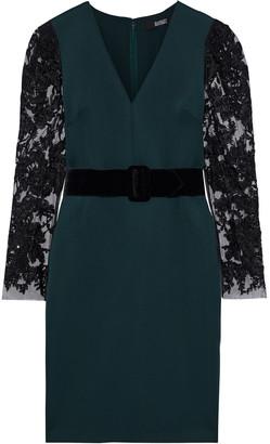 Badgley Mischka Embellished Tulle-paneled Neoprene Dress