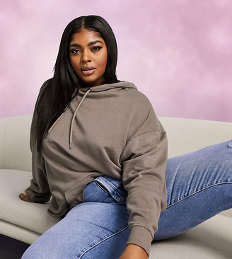 ASOS DESIGN Curve organic cotton super oversized boyfriend hoodie in brown