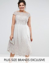 Chi Chi London Plus Premium Lace Cap Sleeve Dress With Tulle Skirt