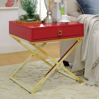 Everly Quinn Aguila Contemporary End Table with Storage Color: Red