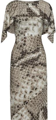 Roberto Cavalli Layered Button-detailed Snake-print Satin-jersey Dress