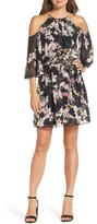 Vince Camuto Women's Print Chiffon Cold Shoulder Dress