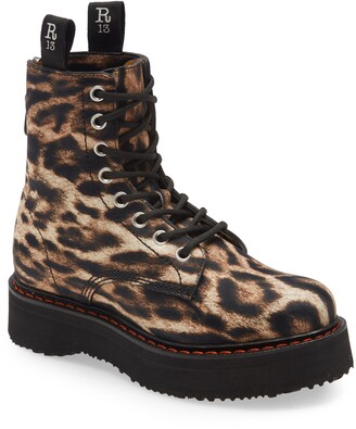 R 13 Single Stack Leopard Print Platform Boot
