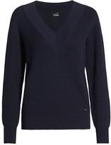 Akris Ribbed Varsity Cashmere & Silk Knit V-Neck Sweater