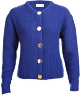 Asneh Blue Hand Knitted Cardigan Jacket With Gold Buttons