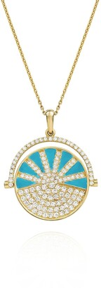 Nevernot Neon Turquoise Enamel Diamond SHOW N TELL Yellow Gold Necklace