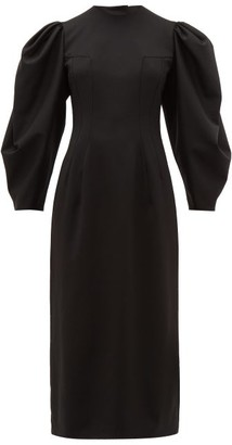 Sara Battaglia Open-back Balloon-sleeve Wool-blend Twill Dress - Black