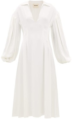 KHAITE Farrely V-neck Crepe Midi Dress - Womens - Ivory