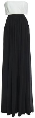 Cinq à Sept Aries Strapless Cutout Crepe-paneled Georgette Gown