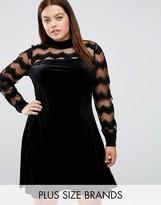 Junarose Velvet Skater Dress With Mesh Insert