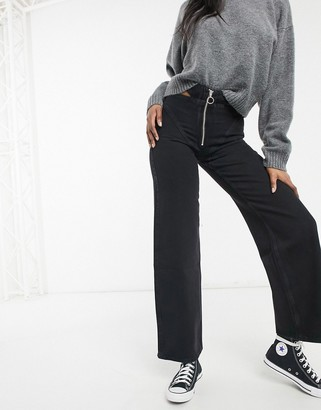 Bershka wide leg cut out detail pants in black