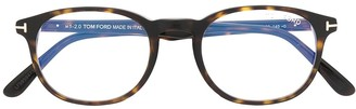 Tom Ford Tortoiseshell Round-Frame Glasses