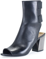 Tom Ford Leather Open-Toe 65mm Bootie, Black