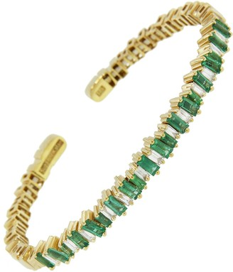 Suzanne Kalan Small Emerald Baguette and Diamond Bangle Bracelet - Yellow Gold